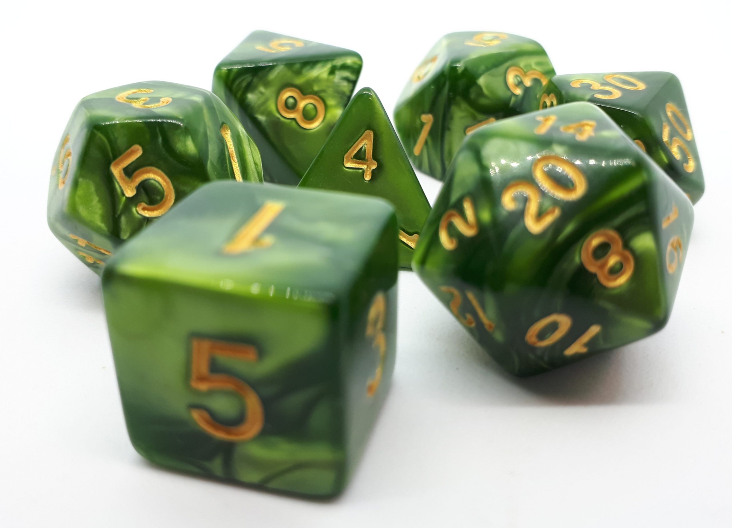 RPG Wuerfel Set Mossgreen/Gold