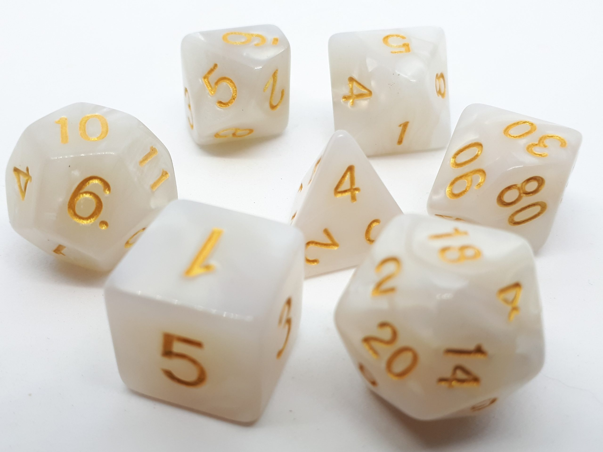 RPG Wuerfel Set Pearl White+Gold