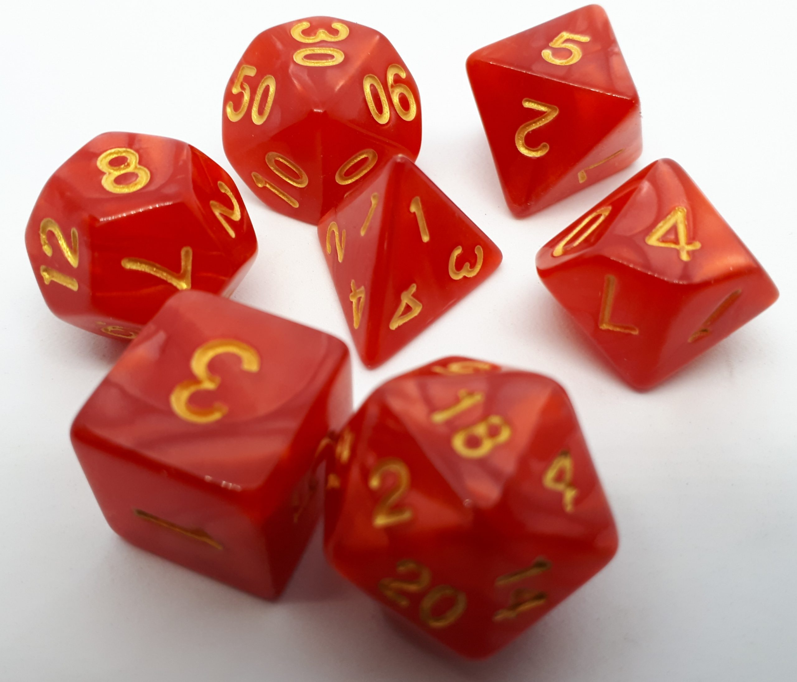 RPG Wuerfel Set Pearl Red/Gold