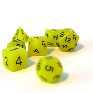 "RPG Würfel SET(7) Acryl Polyhedral DnD ""glow in the dark-yellow"""