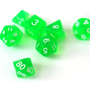 RPG Würfel SET(7) Acryl Polyhedral  Transparent Green