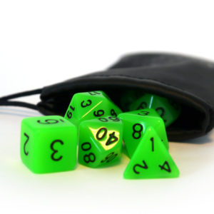 "RPG Würfel SET(7) Acryl Polyhedral DnD ""glow in the dark-green"""