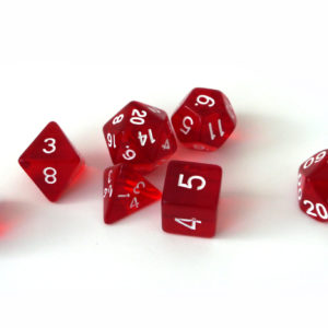 RPG Würfel SET(7) Acryl Polyhedral DnD Transparent Red