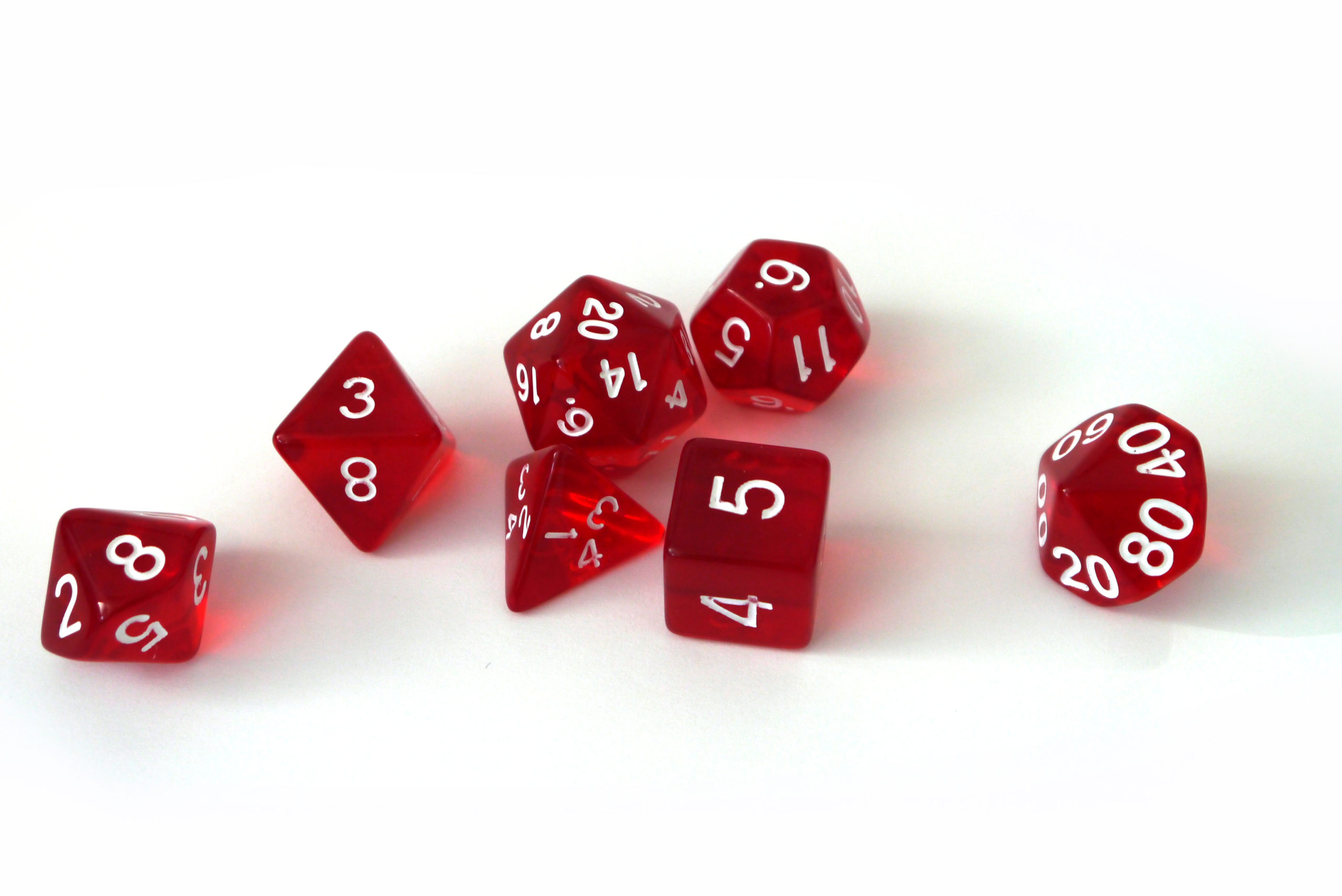 RPG Wuerfel Set Transparent Red