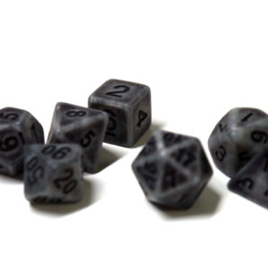 RPG Würfel SET(7) Acryl Polyhedral DnD Antique Silver