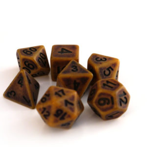 RPG Würfel SET(7) Acryl Polyhedral DnD Antique Gold