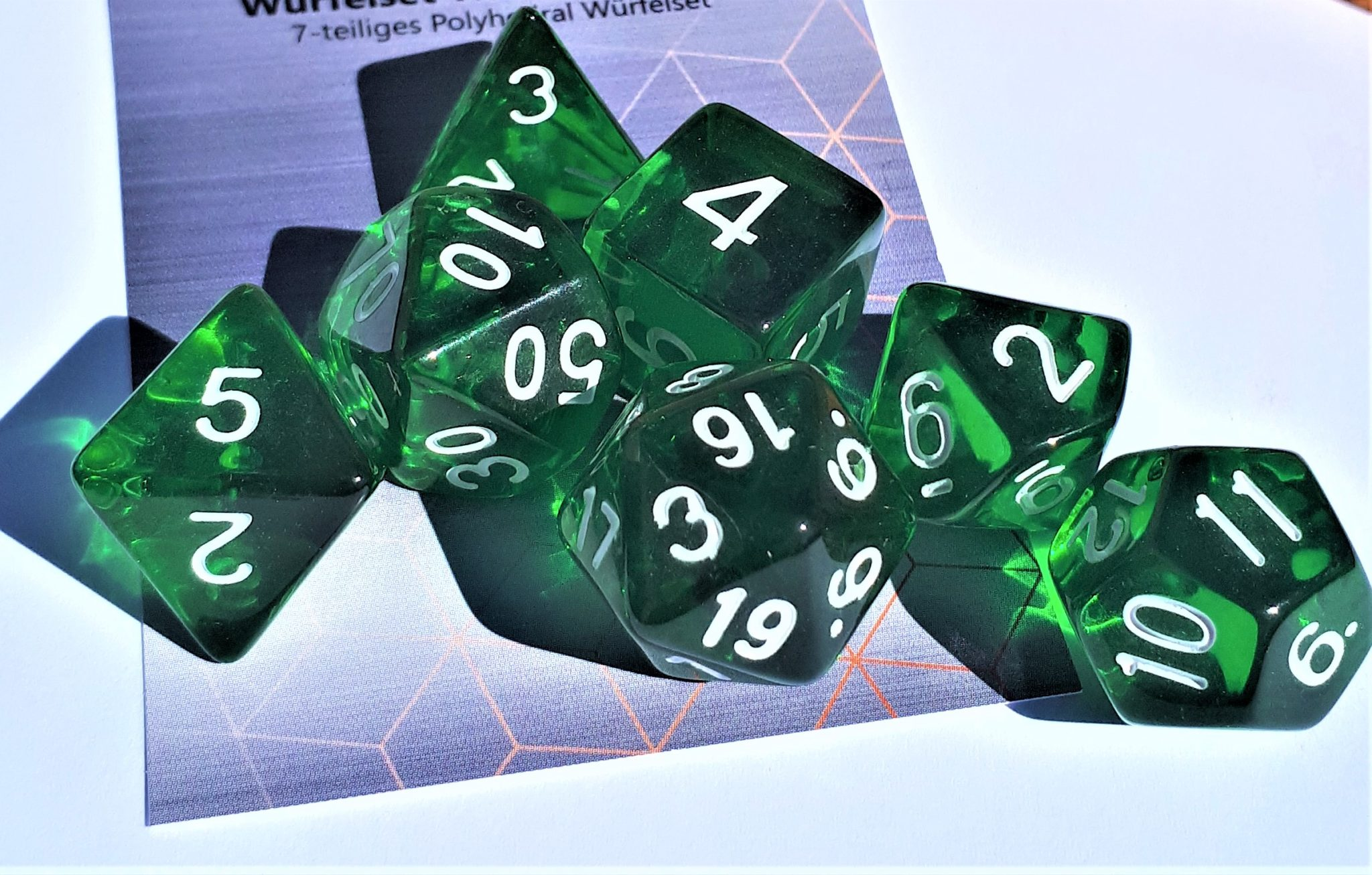 RPG Wuerfel Set Transparent Darkgreen