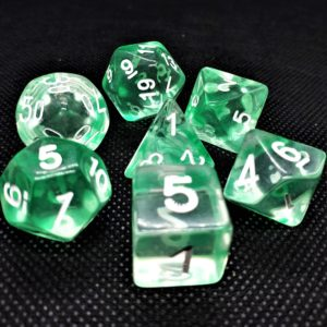 "RPG Würfel SET(7) Acryl Poly DnD Transparent ""Nebula"" Green"