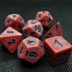 RPG Würfel SET(7) Acryl Polyhedral DnD Antique RED
