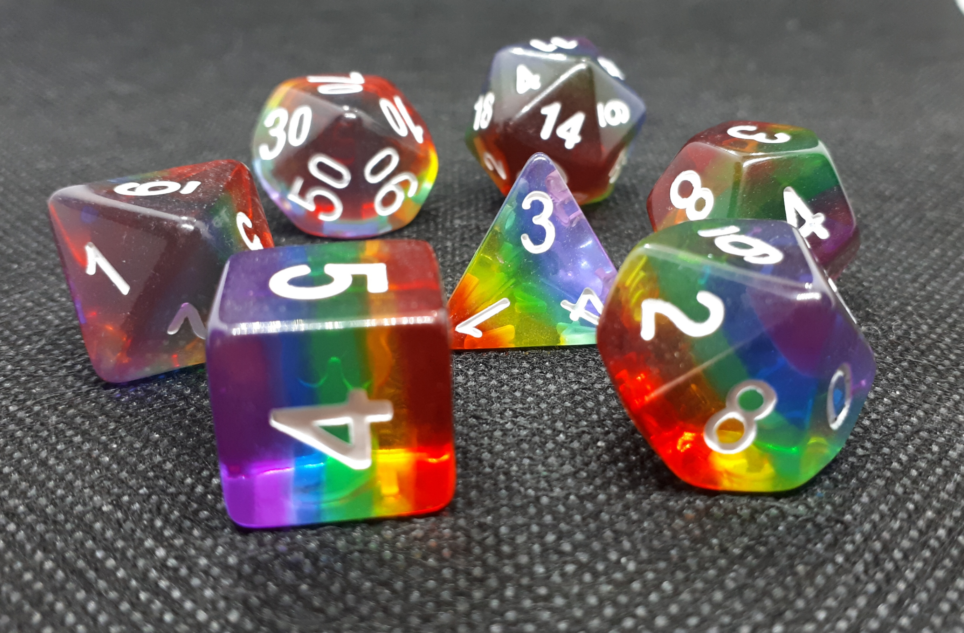 RPG Wuerfel Set Transparent Rainbow