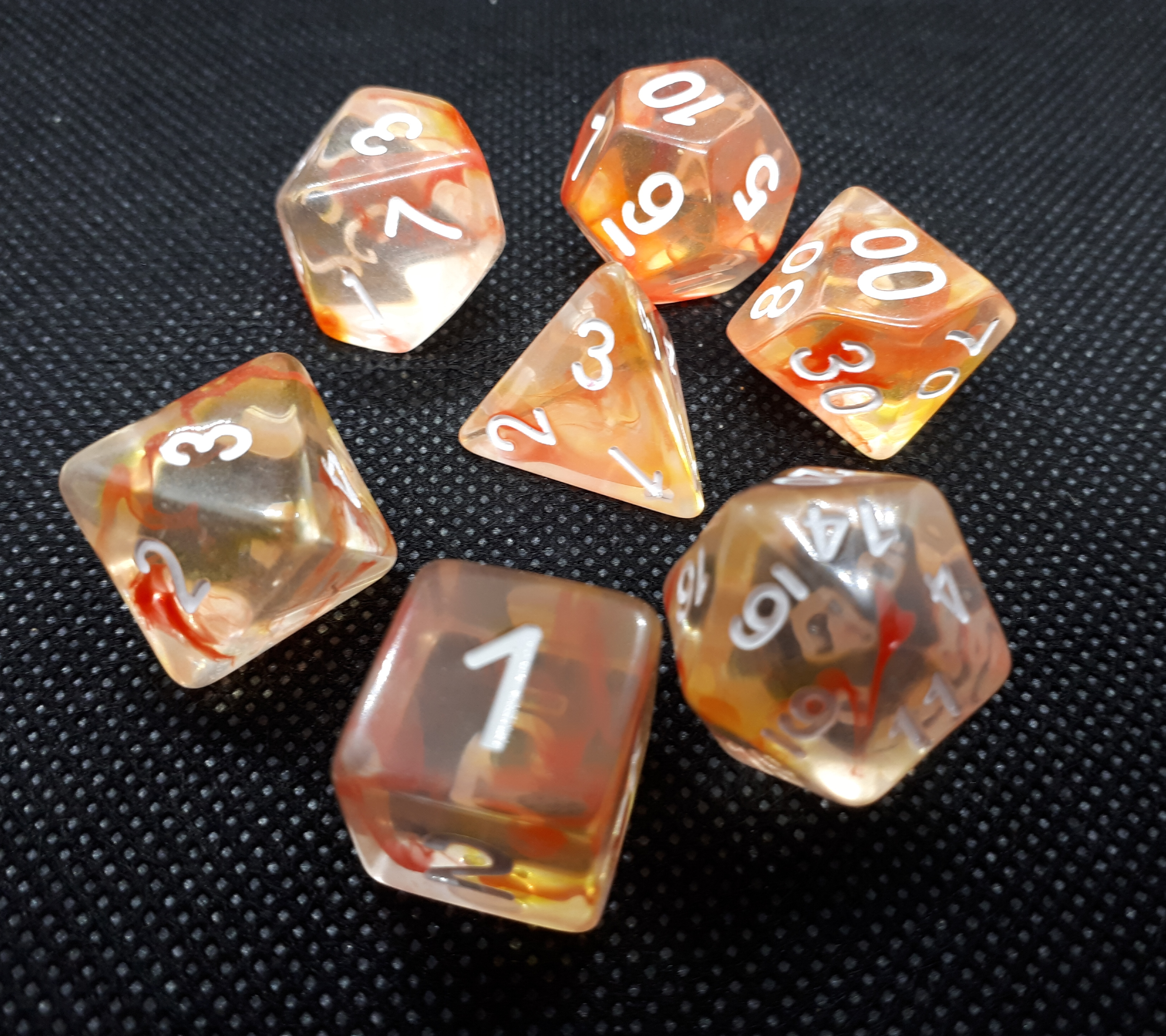 RPG Wuerfel Set Swirl Orange