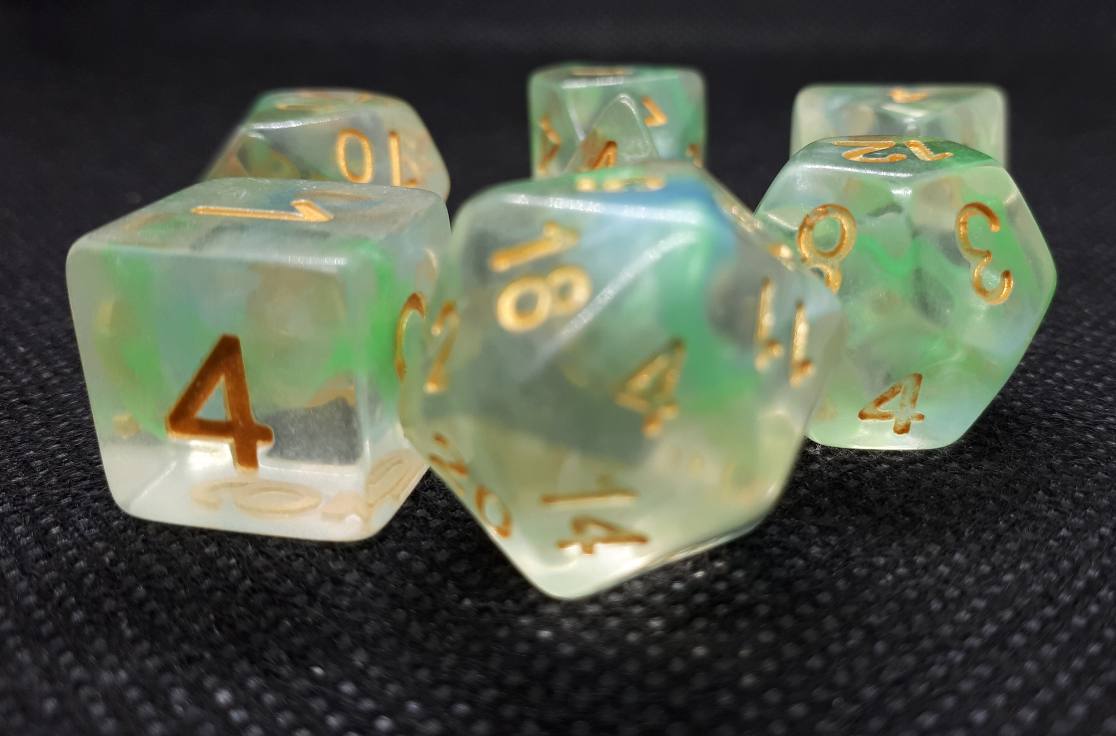 RPG Wuerfel Set Pearl Swirl Green
