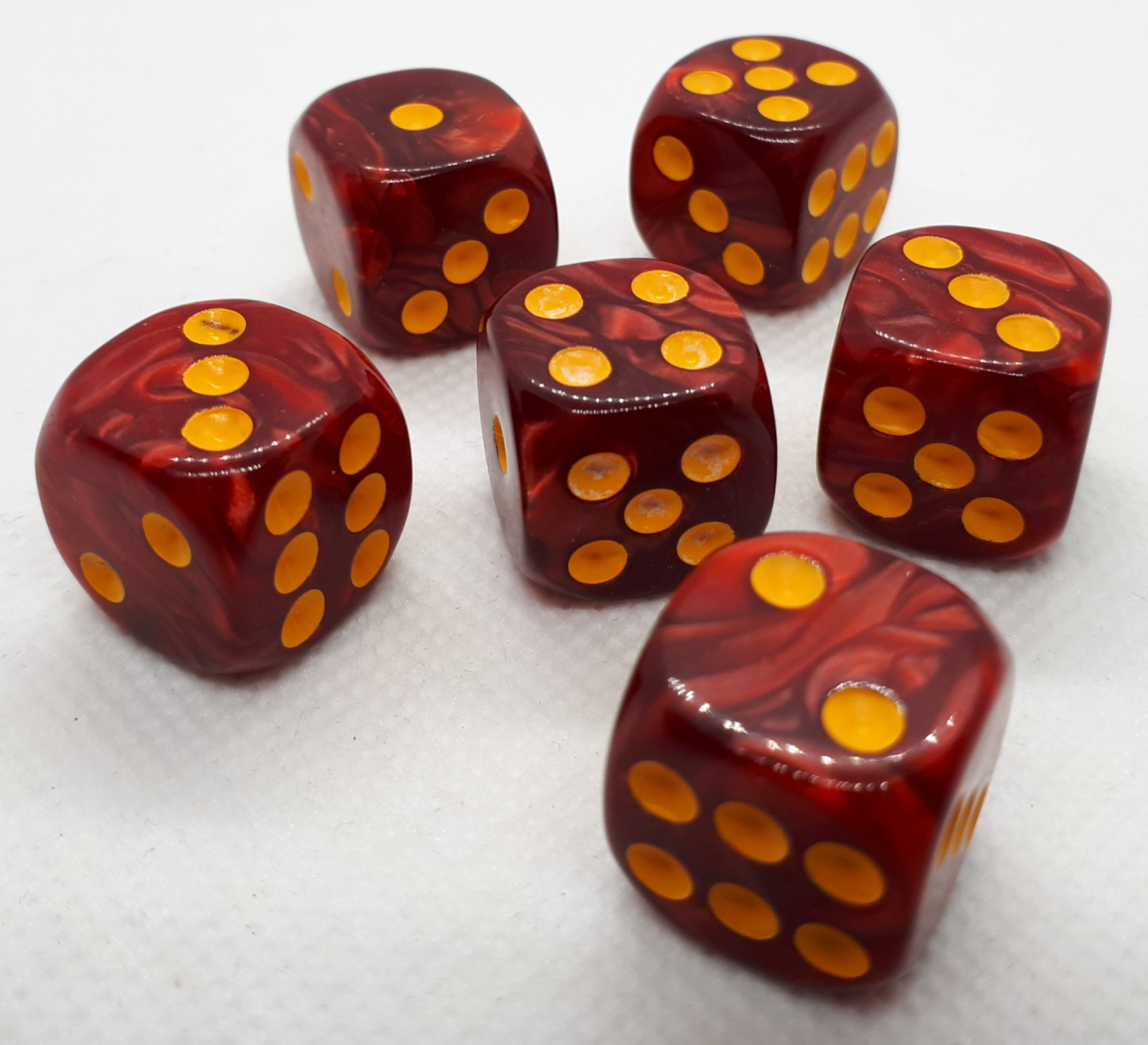RPG Wuerfel Set D6 16mm Pearl Red+Gold