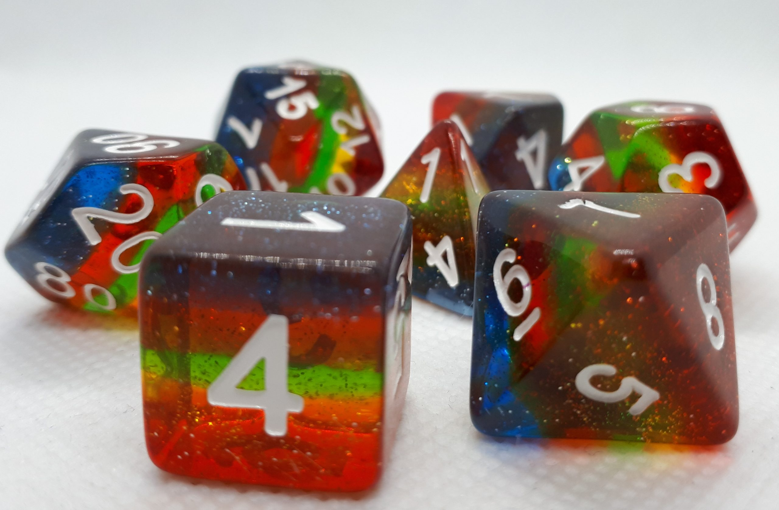 RPG Wuerfel Set Rainbow Glitter