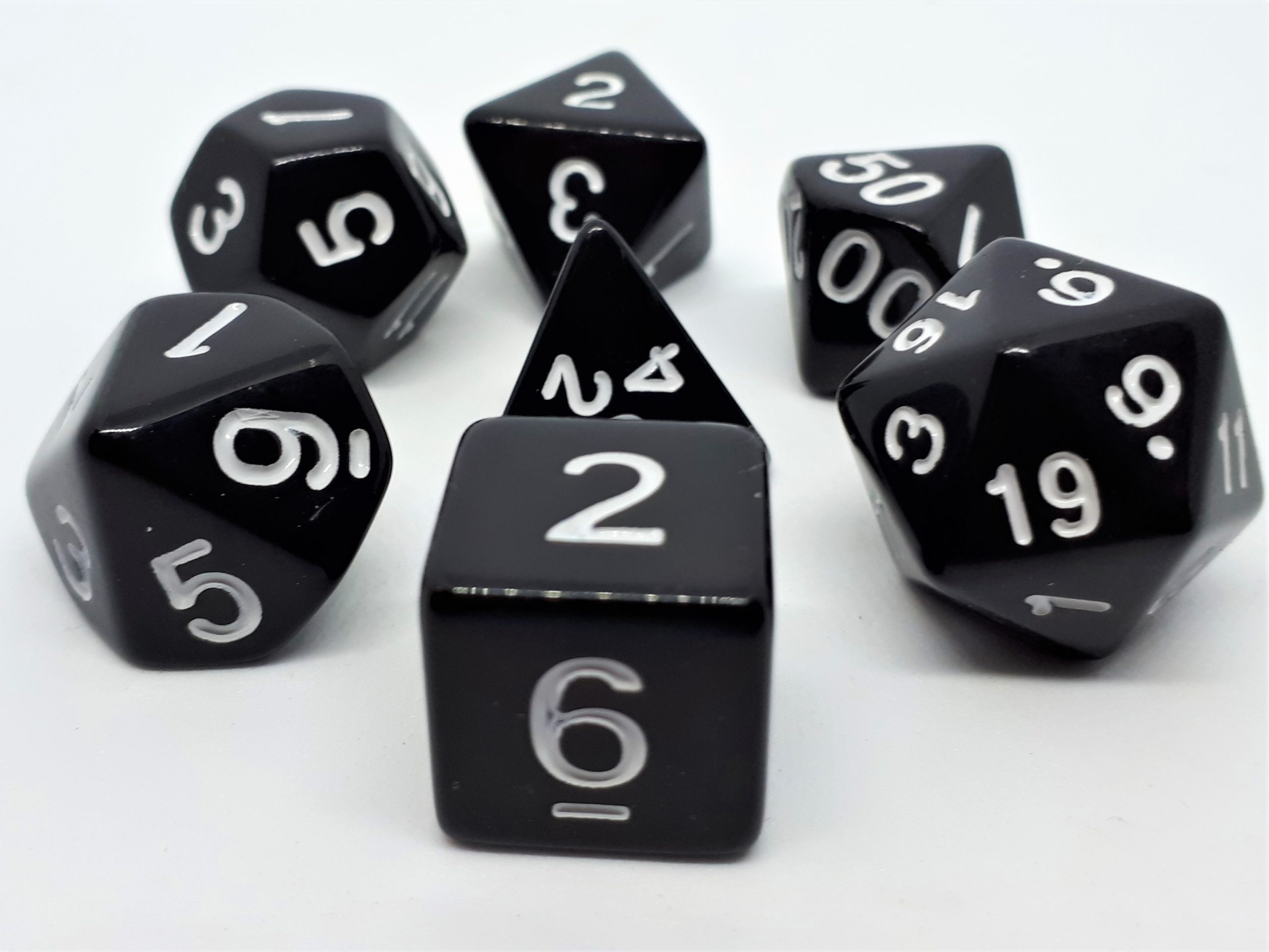 RPG Wuerfel Set Opaque Black/White